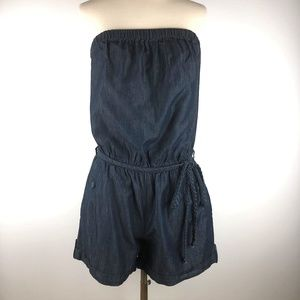 The Limited Strapless Chambray Romper Medium